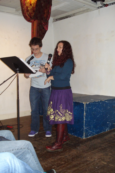 Nada Gordon assisted by David Brazil, in a poem for two voices
