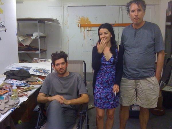 Skylar Haskard, Aida Ruilova, and Raymond Pettibon at Pettibon's Venice studio