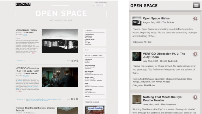 Previous designs of Open Space website: desktop version (left) and mobile version (right).