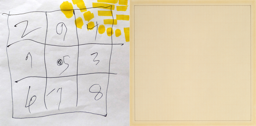 Left: Arthur Paul David White, Nine-cell Magic Square, 2016; ink and yellow highlighter on paper; Right: Agnes Martin, Petal, 1964