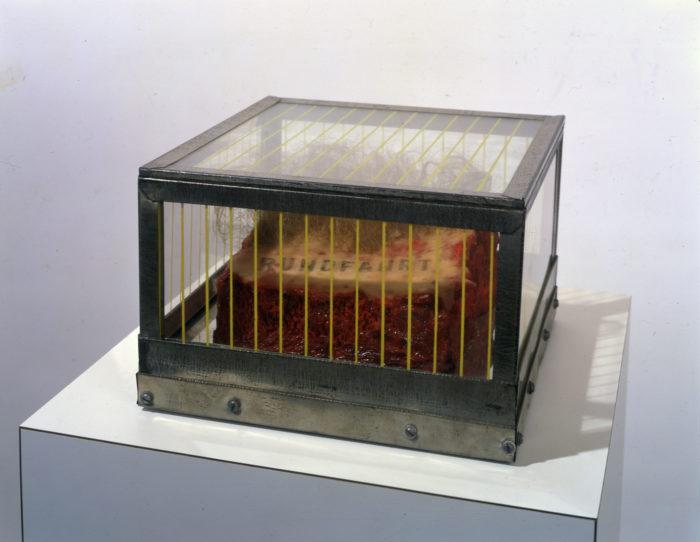 Paul Thek, RUNDFAHRT (1964) from the Technological Reliquaries Series, wood, mirror, wax, paint, resin, hair, metal, glass (with silkscreen)