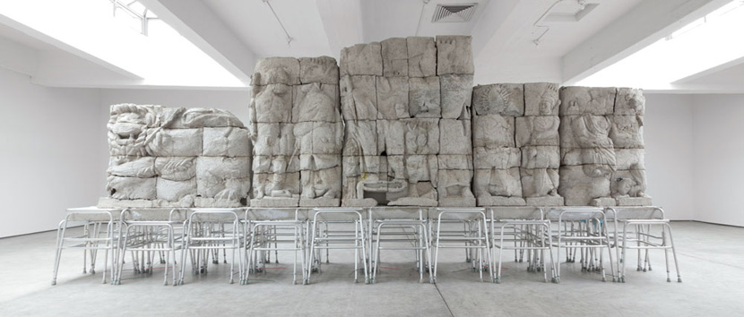 Justin Matherly, Handbook of inner culture for external barbarians (we nah beg no friend), 2013; concrete and ambulatory equipment; 295 x 45 x 121 in. (749.3 x 114.3 x 307.3 cm.); courtesy Paula Cooper Gallery