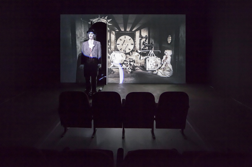 John Bock, Der magische Krug, 2013; animated puppets, canvas, cinema seats; projection: 259 x 485 x 200 cm, cinema seats: 125 x 250 x 250 cm; installation view, John Bock, 'Knick-Falte in der Schädeldecke', Sprüth Magers, Berlin, March 15 - April 12, 2014; © John Bock, courtesy Sprüth Magers
