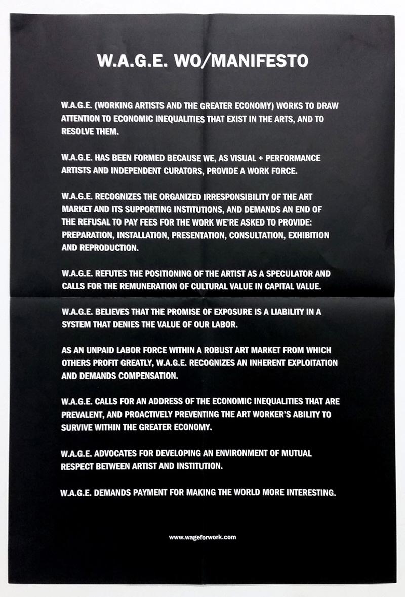 W.A.G.E. wo/manifesto, 2008. Poster printed for Wage 4 W.A.G.E. Campaign, 2014.