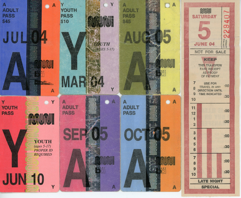 """My Myspace user name was """"Mel on the 71"""" a nod to the 71-Haight I rode on the regular. That transfer was from the day I graduated high school. Notice that a FastPass was $45 in 2004 – it's $86 now."""