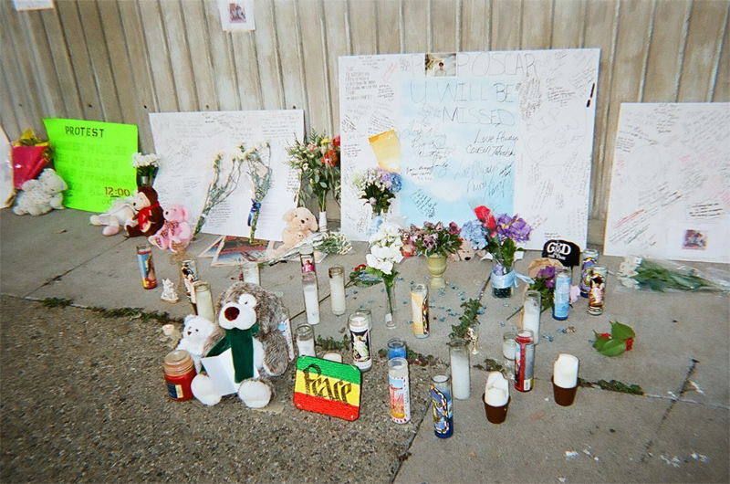 Oscar Grant was fatally shot by a BART officer at Fruitvale station on January 1, 2009. This was taken at the protest days after.