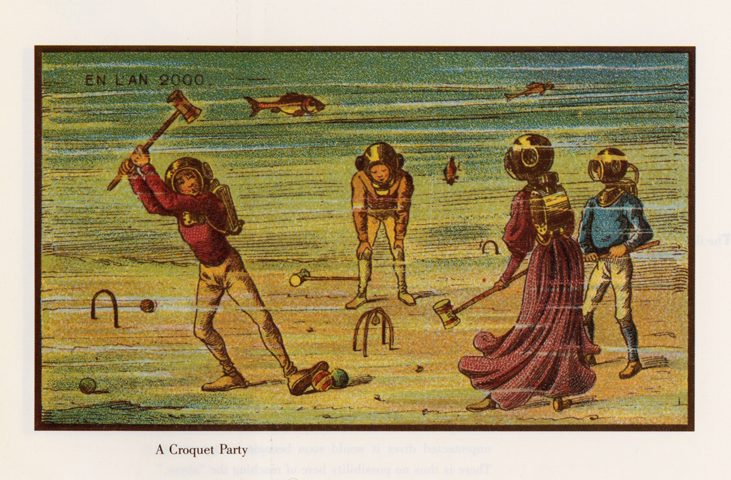 A 19th century prediction of 21st century game of underwater croquet.