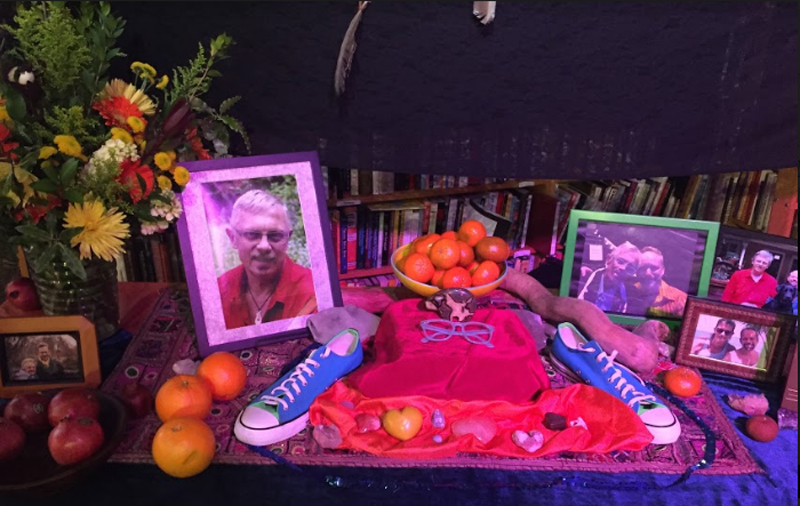 Altar from Premorial: A Circle of Love and Celebration for Buzz Bense..