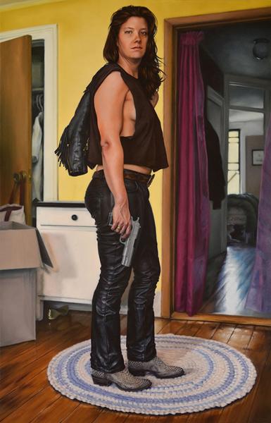 "Amanda Kirkhuff, Jody Lynn Bowman, 2015; oil on canvas, 46"" x 71""."