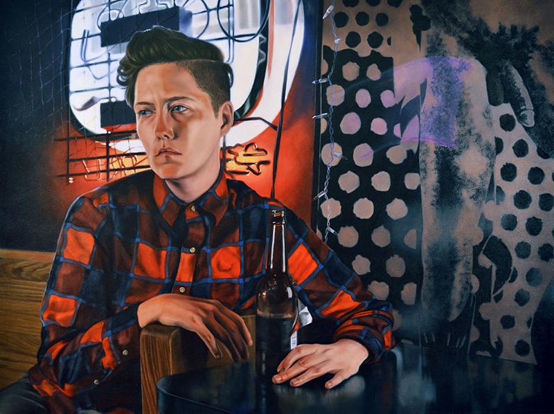 """Amanda Kirkhuff, Lesbian In A Gay Bar, 2016; oil on canvas, 57"""" x 43""""."""