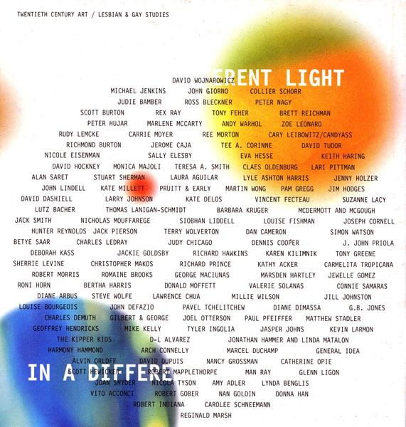 In a Different Light catalogue back cover with constellation of artist names. Co-organizers, artist Nayland Blake and curator Lawrence Rinder.