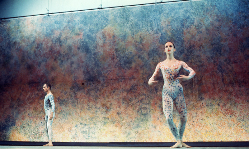 Carolyn Brown and Merce Cunningham performing <em>Summerspace</em> with backdrop and costumes by Robert Rauschenberg; Brooklyn Academy of Music, 1970. Photo: James Klosty.
