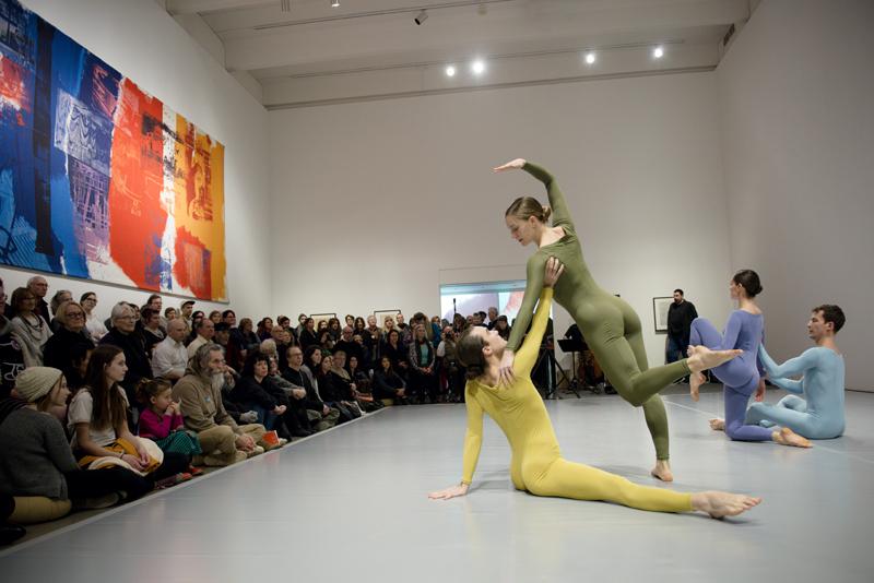Silas Reiner, Jamie Scott, Melissa Toogood and Dylan Crossman (left to right) performing Walker Cunningham Event. February 2017. Walker Art Center, Minneapolis. Photo: Gene Pittman.