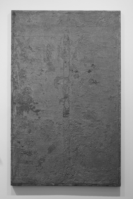 David Ireland, A Portion of: From the Year of Doing the Same Work Each Day, 1975; concrete and polymer on plastic; 70 ¾ x 44 inches; photo: M. Lee Fatherree; image courtesy of The 500 Capp Street Foundation.