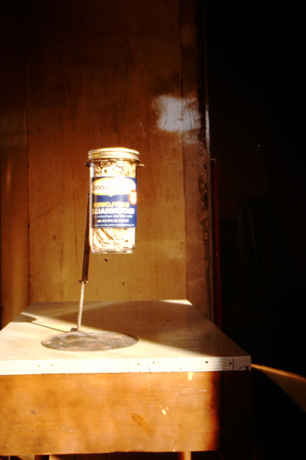 David Ireland, Hollywood Strings, n.d.; glass jar, string, wire and cement; 12 ½ x 7 x 7 inches; photo: David Ireland; image courtesy of The 500 Capp Street Foundation.