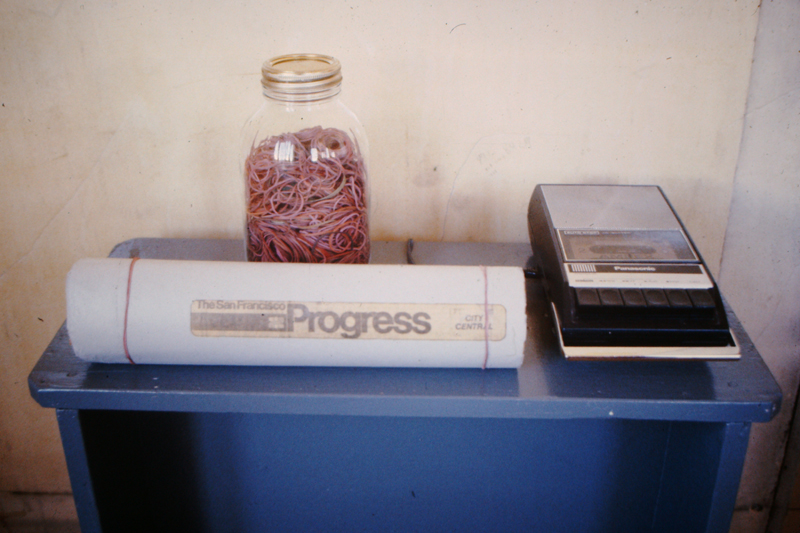 Tape recorder, newspaper and jar with rubber bands, c.1977; photo: David Ireland; image courtesy of The 500 Capp Street Foundation.