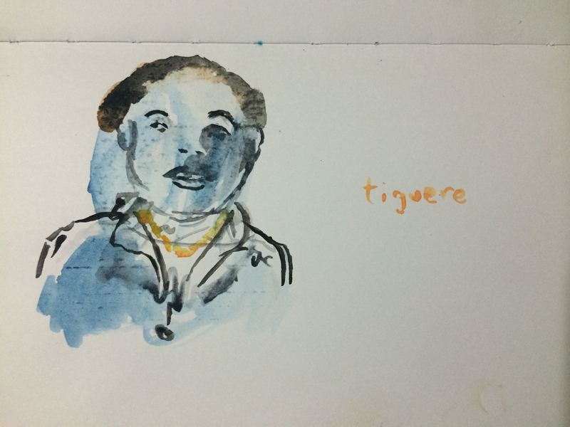 Tiguere, from notebook, 3 x 5 in., watercolor on paper, Santo Domingo, 2012.