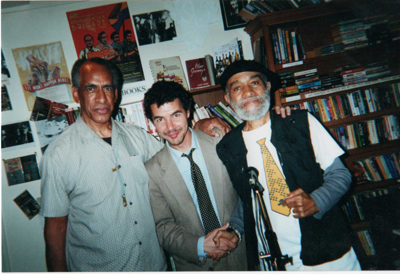 John Tchicai, Justin Desmangles, and Ted Joans in San Francisco, 2001. Photo by Elz Cuya Jones.