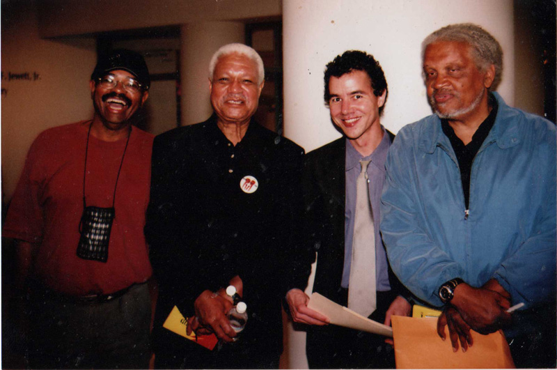 Cecil Brown, Al Young, Justin Desmangles, and Ishmael Reed in San Francisco, 2004. Photo by David Alston/Mahogany Archives.