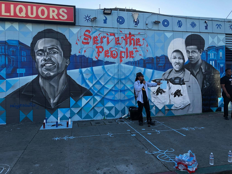 "Duane Deterville at the December 4, 2017 celebration of the Black Panther Party ""Serve the People"" mural in West Oakland. Photo: Amir Clark."