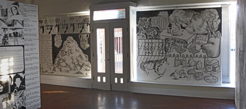 Arturo Ernesto Romo, murals at Holy Jolina! solo exhibit, Tropico de Nopal Gallery, 2009, Los Angeles.