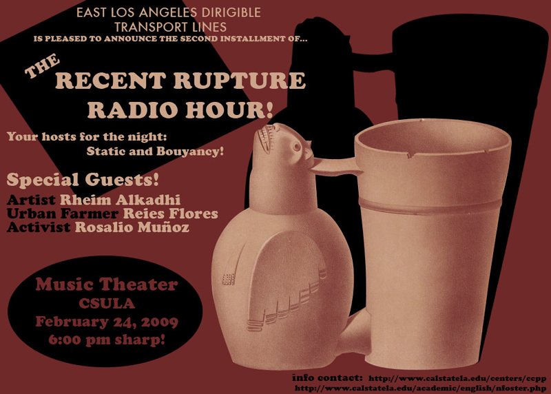 Arturo Ernesto Romo, performance flyer for the Recent Rupture Radio Hour, 2009, California State University at Los Angeles.