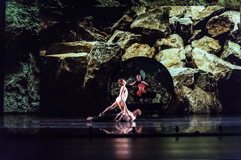 From ODC/Dance's production of <em>boulders and bones</em> at the Yerba Buena Center for the Arts, 2014. Pictured: Anne Zivolich and Dennis Adams (dancers); Zoë Keating (cellist). Photo: Marie-Pier Frigon.