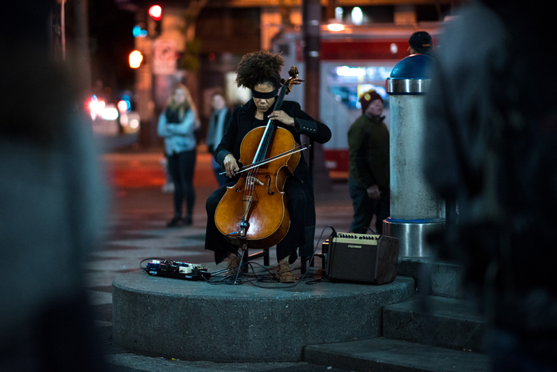 Mia Pixley performs Simone Bailey's Sway, Clench, Release (Requiem No. 415) at the 16th St. Plaza in the Mission on February 24, 2018. Photo: Hillary Goidell.