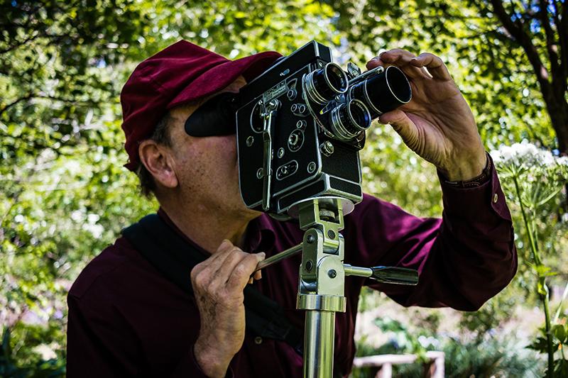 Nathaniel Dorsky shooting in the Arboretum.Photo: Danijel Bogdanic.