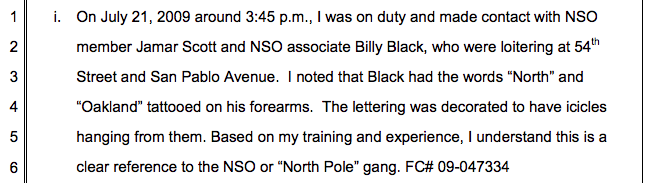Oakland police officer supports establishment of gang injunction in court document.