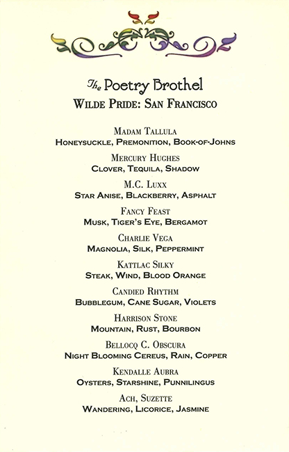"""The """"menu"""" distributed at The Poetry Brothel's Bay Area iteration."""