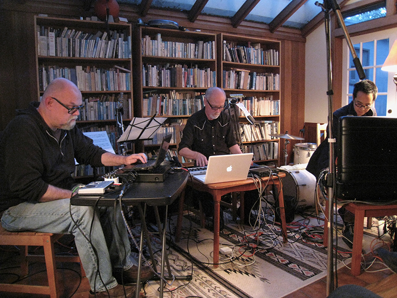 Tim Perkis, John Bischoff, and James Fei performing at Tom's Place, May 10, 2011. Photo: Michael Zelner.
