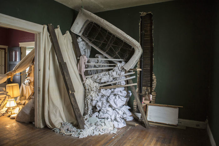 Julie Schenkelberg, Slavic Village, Abandoned Foreclosed Home Project, Rooms to Let, 2014; mixed media; 9 x 6 x 7 ft.