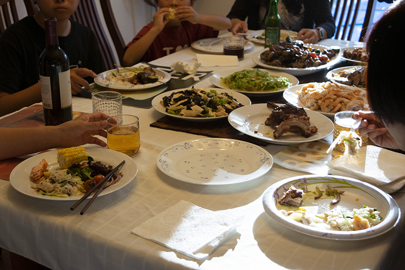 A July 4 dinner at the author's parents' home in Fremont, California.