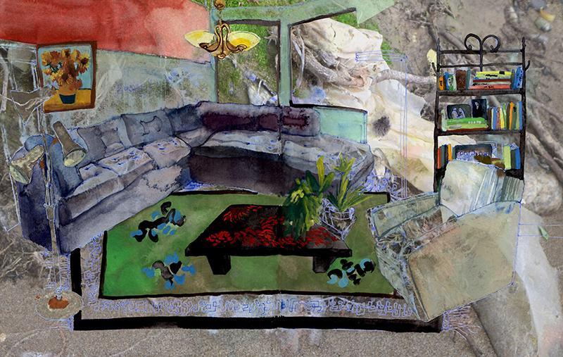 Yard sale (living room), mixed media digital collage, 2018.
