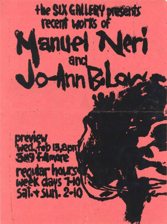 """Manuel Neri and JoAnn B.Low, 1957. """"I slapped together the simple original in a rush,"""" Low recalled. """"Manuel and I delivered the shocking pink announcement to a fellow student with a print shop who helped without charge."""""""