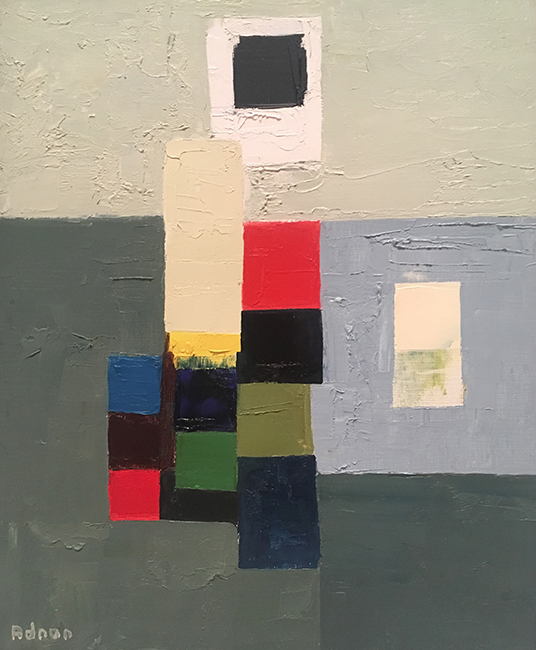 Etel Adnan, Untitled, ca. 1970; oil on canvas, 18 1/4 x 14 15/16 in. (46.4 x 38 cm.); The Fund for Contemporary Art.