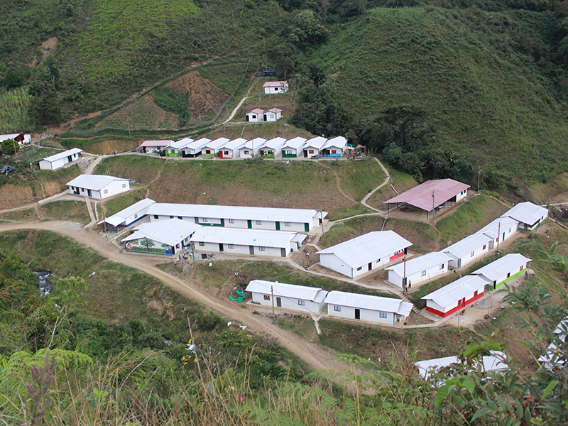 Temporary housing for the ex-combatants in the ETCR Román Ruiz. Photo credit: Communications team of the ETCR Román Ruiz.