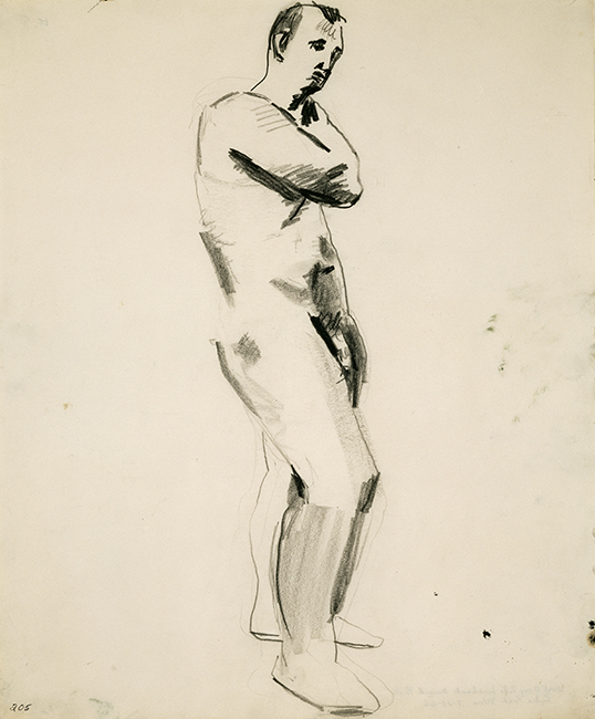 David Park, Untitled (Nude Male Figure), ca. 1957; Collection of Vicki and Kent Logan, fractional and promised gift to the San Francisco Museum of Modern Art; © Estate of David Park.