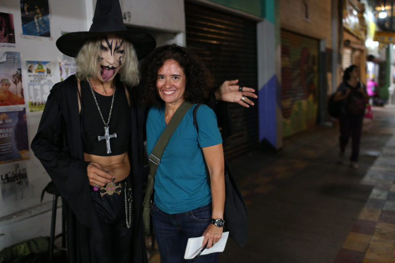 On the job in Tijuana, with the street musician El Muertho (The Dead One). Photo: Marcus Yam