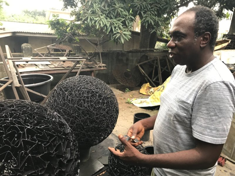 Studio visit with sculptor Olu Amoda in Lagos, Nigeria. Photo: Siddhartha Mitter