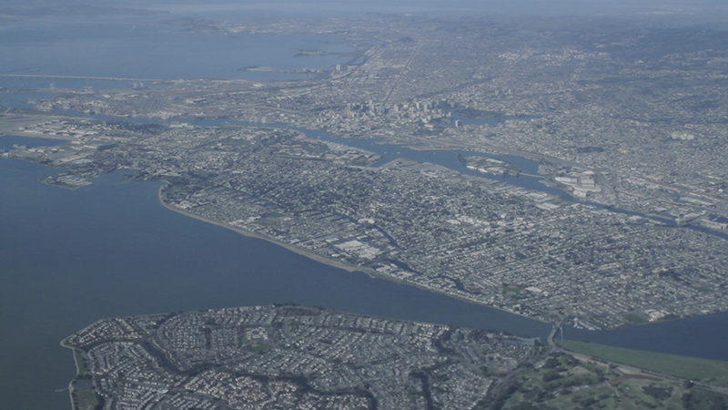 View of Oakland as seen from a flight arriving from Santiago, Chile.
