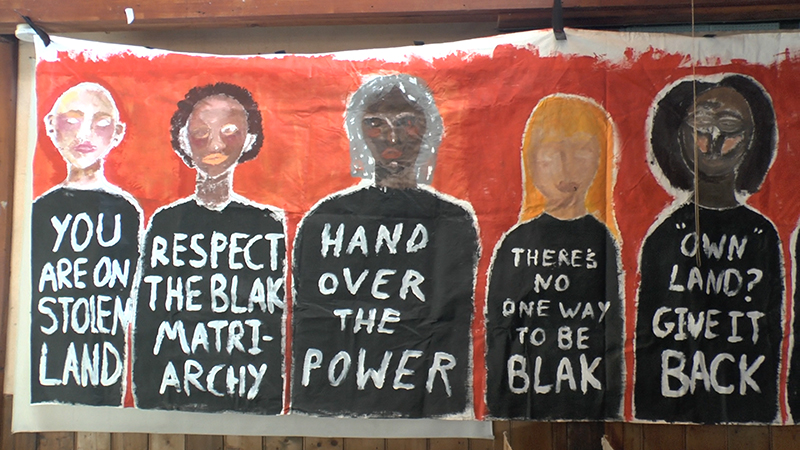 Banner made at this mob's Invasion Day Banner Painting workshop, 2019