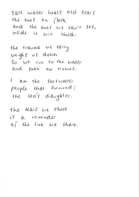 Poem by Maya Hodge, 2019.