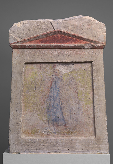 Anonymous, Painted limestone funerary slab with a soldier standing at ease, ca. second half of third century BC; Hellenistic, Greek; limestone, paint; Metropolitan Museum of Art, Gift of Darius Ogden Mills, 1904.