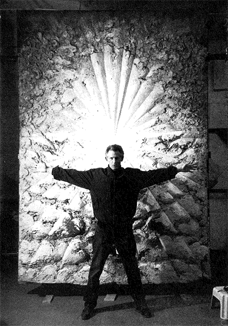 Bill Berkson standing in front of Jay DeFeo's The Rose, 1995. Courtesy Connie Lewallen.