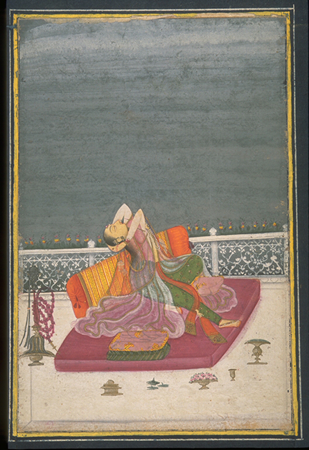 Forlorn woman on a terrace, approx. 1800–1825, by a follower of Chokha (Indian). Ink, opaque watercolors, and gold on paper. Asian Art Museum of San Francisco, Gift of George Hopper Fitch, 2010.474. Photograph © Asian Art Museum of San Francisco.