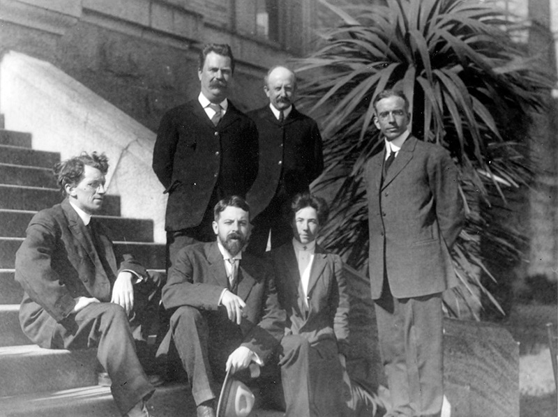 University of California Anthropology Department staff (from left) Seated: Nels C. Nelson, Alfred Kroeber, Ethel G. Field; Standing: Arthur Poyser, Arthur Warburton, Thomas Waterman, San Francisco 1911. Courtesy P.A. Hearst Museum.