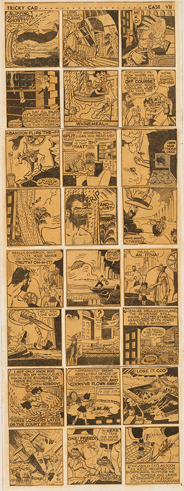 Jess Collins, Tricky Cad: Case VII, c. 1959; newspaper collage; 19 x 7 in. (48.3 x 17.8 cm); Los Angeles County Museum of Art, gift of Mr. and Mrs. Bruce Conner (M.62.26.4).