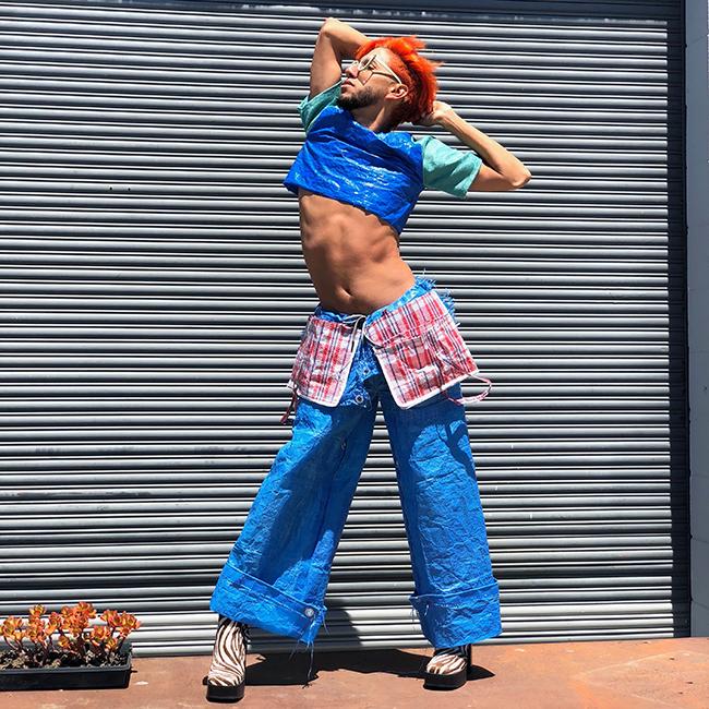 Bonanza, Bob the Builder Pants, 2018. Tarp, fabric, plastic bag. Photo by Bonanza.